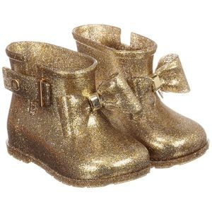 Mini Melissa Gold toddler boots